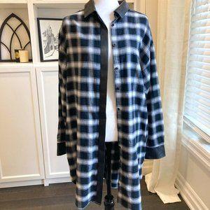 BANANA REPUBLIC LONG BLACK AND WHITE PLAID SHIRT DRESS SHACKET SZ 14